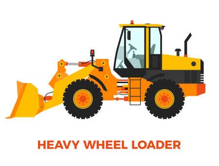 construction vehicle: Yellow and Orange Wheel Loader Construction Vehicle