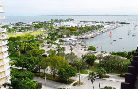 Aerial view of Miami marina in Coconut Grove with sailboat and boats