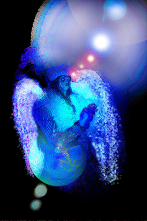 praying angel: Glowing praying Angel photographic digital illustration in blues with lens flare. Stock Photo