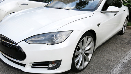 felice: West Palm Beach, Florida, September 18, 2016 , white Tesla Electric car displayed at the National Drive Electric Week Event in West Palm Beach, Florida. Editorial