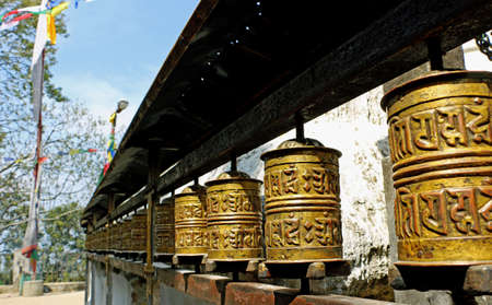 Prayer wheel at a temple in Nepal Om Mani Padme Hum