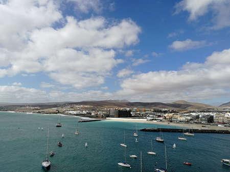 View of Puerto del Rosario with the beach 写真素材