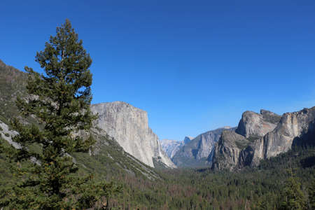 Yosemite National Park in cloudless blue sky