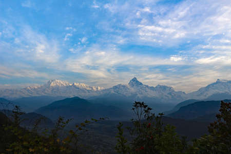 View of the Himalayas in Nepal snow Фото со стока