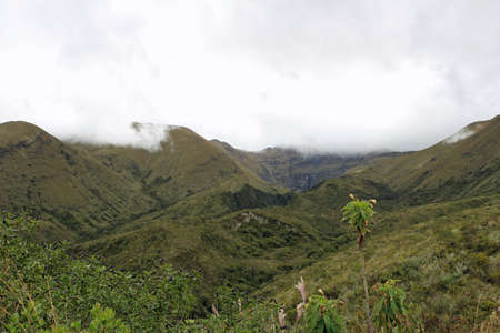 Cloud-covered mountains in Ecuador travel destination 스톡 콘텐츠