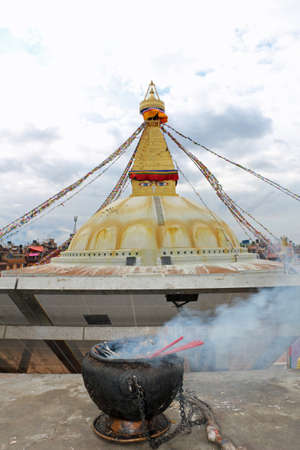 Incense and Buddhist temples in Nepal travel Imagens