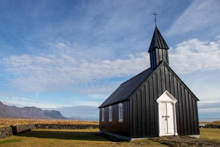 black church in Iceland in Budir Stock Photo