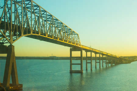 waterscapes: Chesapeake Bay Bridge at Sunrise Stock Photo
