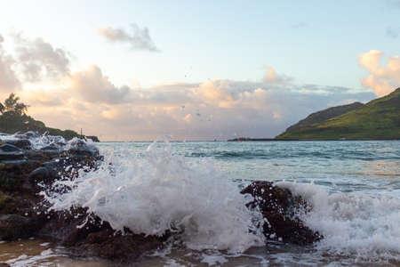 Hawaii Beach at Sunrise Stock Photo