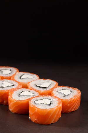 philadelphia roll: tasty Roll Philadelphia Sushi on black backround fish