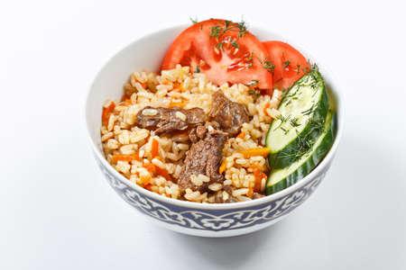 uzbek: traditional asian pilaf. national uzbek food