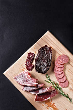 cutting horse: horse meat on cutting board Stock Photo