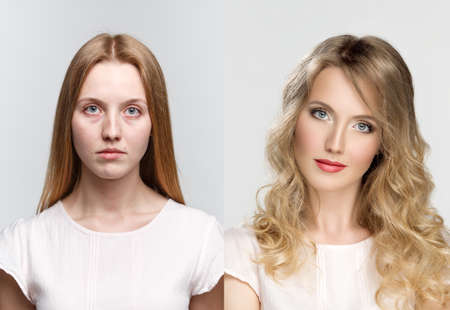 comparison: comparison two portraits before and after makeup and retouch in photostudio
