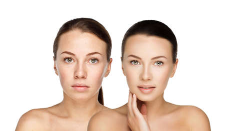 modelos desnudas: comparaci�n retratos hermosa chica con y sin maquillaje nude, antes y despu�s. izquierda cara limpia sin maquillaje y maquillaje nude derecha y retoque