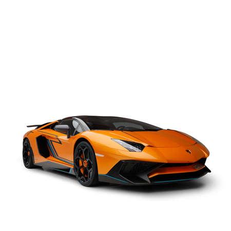 Dubai / UAE - December 19 2019: Lamborghini Aventador SV Roadster. Novitec air kit and wheels. Collection car. Cabrio custom model. Super car. Redactioneel