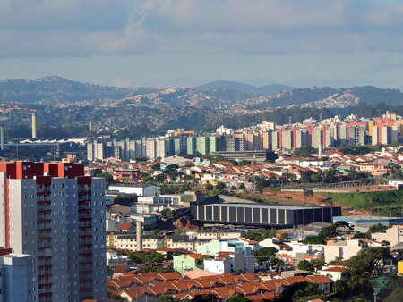 overpopulated: Panoramic view of the Santo Andre and Maua cities, Brazil