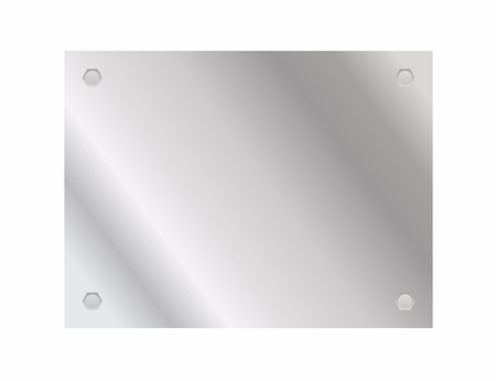 Shiny metal plate with screws. Vector illustrations.