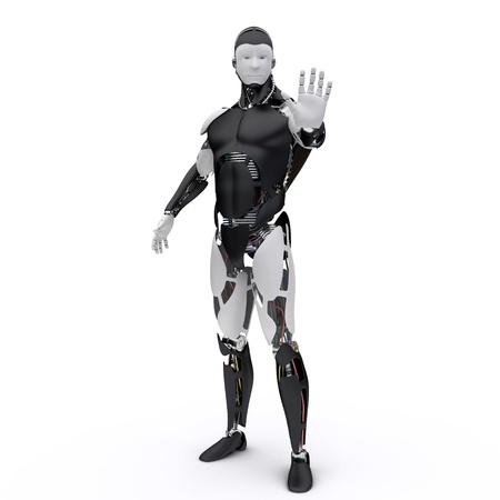 Le robot fait un signe de s'arrêter Banque d'images