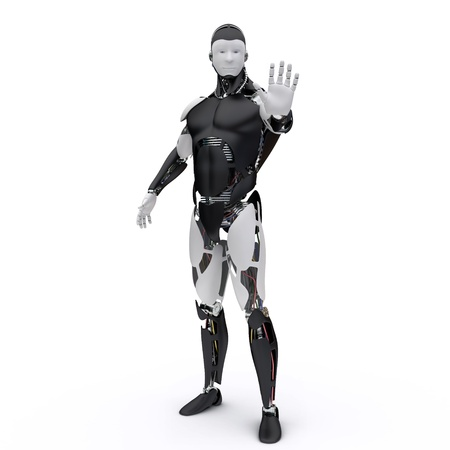 humanoid: The robot makes a sign to stop Stock Photo