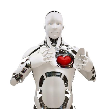 bondad: Robot con corazón abierto