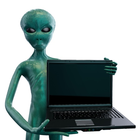 Alien with notebook Stock Photo - 12799905