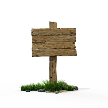 Old wooden post with sign for text