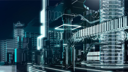 futuristic megalopolis5 Stock Photo