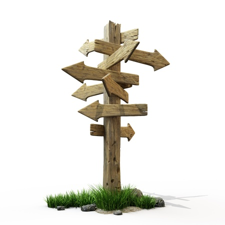 junction: Old wooden pointer to the direction Stock Photo