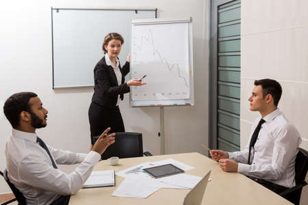 business training: Business training for students. Teacher is teaching the students. Stock Photo