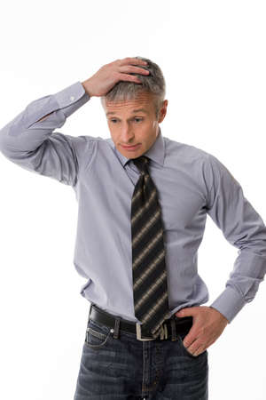 disbelief: Man in disbelief. Boss solve the problem. Perplexed businessman. Stock Photo