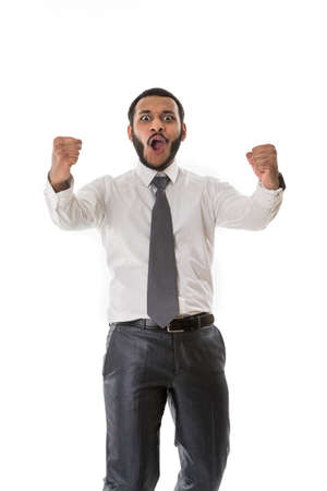 rejoices: Enthusiastic manager rejoices of success.Happy boss. Business man.