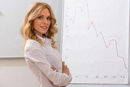 플립 차트 근처 비즈니스 코치입니다. 교실에서 교사입니다. 스톡 콘텐츠