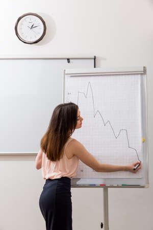 teaches: Business coach teaches a lesson in college. Stock Photo
