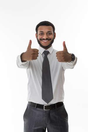 oficinista: Clerk muestra el pulgar. empleado con �xito. Individuo feliz.