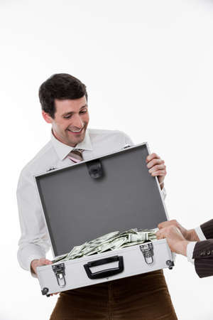 earned: Managers share the profits. Business corruption. Business people. Stock Photo