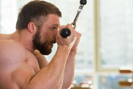 lusty: Bodybuilder in gym. Muscular man working out in gym. Sportsman doing pull-ups. Strong man is concentrated on his goal. Stock Photo