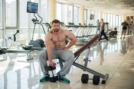 achiever: Strong bearded man in gym. Strong man sitting on the bench in gym. Bodybuilder keeps dumbbell.