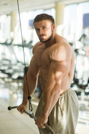 lusty: Sportsman doing pull-ups in gym. Bodybuilder training in gym. Bodybuilder building up muscles. Stock Photo