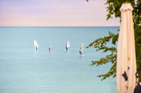 foretaste: The view from the bridal place on the horizon and windsurfers.