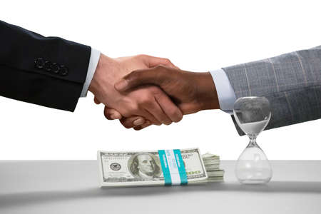 no way: Businessmen shake hands. A deal made. No way back now. Friendship of countries.