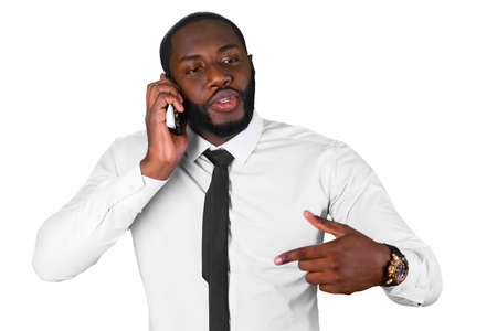 convincing: Convincing talk on the phone. Afroamerican sales manager. Black man having business conversation. Confident leader on the phone.