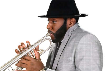 trumpet: Expression of skill. Trumpeter in a hat. Classy trumpeter performing. Dont distract the trumpeter.