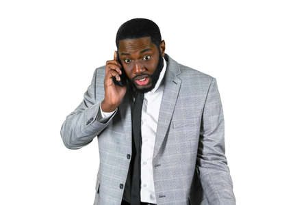problem: Afroamerican businessman on the phone. Problem solving on the phone. Managers phonetalk. Customer support.