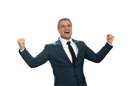 Homme d'affaires rire heureux. Quel jackpot. Leader a atteint son but. plus grande étape de l'entreprise. Banque d'images - 52723904