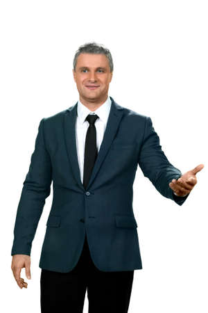Businessman greets people. Feel yourself at home. So happy to see you. A modest adult gentleman.