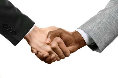 respeto: Dos hombre agitando las manos. Es un trato. Recuerde sus promesas. El respeto y aprobación.
