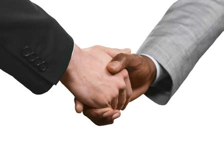 realtionship: Men in suits shaking hands. A start of partnership. A sign of mutual respect. Value the friendship.