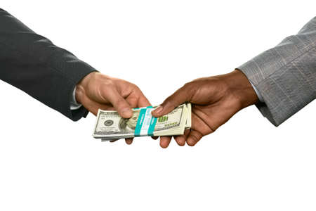 boiling point: Two men holding money. Buying the real estate. Boiling point. The path takes strange turns. Stock Photo