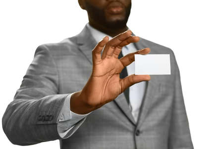 proceed: Black man shows his invitation. Clear to proceed. A wanted guest. New licence. Stock Photo