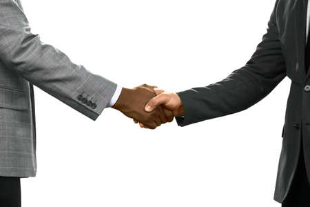 realtionship: Businessman greeting each other. A friendly gesture. Value your allies. Thanks for everything. Stock Photo